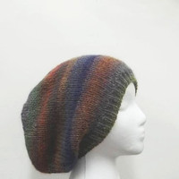 Colorful oversized beanie slouch hat handmade size large 4947
