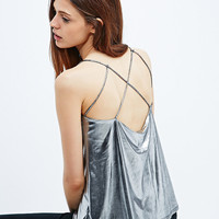 Sparkle & Fade Cross Back Cami in Silver - Urban Outfitters