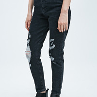 Light Before Dark Ripped Super High-Rise Skinny Jeans in Black - Urban Outfitters