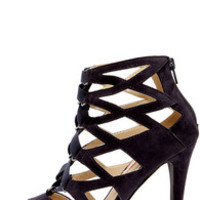 Cage Flight Navy Blue Suede Caged Heels