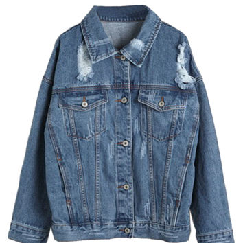 Blue Loose Distressed Denim Jacket - Choies.com