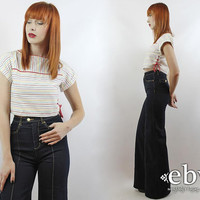 Vintage 80s White Rainbow Striped Crop Top XS S Cropped Top Midriff Top Rainbow Crop Top Cropped Shirt Cropped Blouse 80s Crop Top 80s Top