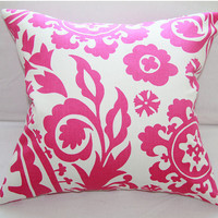 Candy Pink on White Decorative Pillow Slipcover 18x18