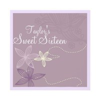 Purple Modern Floral Sweet16 Birthday Invite from Zazzle.com