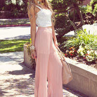 PLEATED PALAZZO PANTS - Peach Pearl
