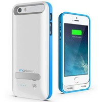 Maxboost Atomic S External Protective iPhone 5S Battery Case / iPhone 5 Battery Case with Built-in Kickstand - White / Blue (Apple MFI Certified, Fits All Versions of iPhone 5 / 5S - Lightning Connector Output, MicroUSB Input ) [100% Compatible with iPhone