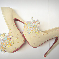 Fairy Tale Ivory & Crystal Heels Size 6 Through 10