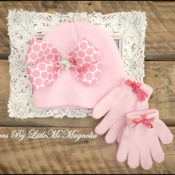 "Little Girl , Toddler Girl Beanie and Gloves Set  ""Pink Out"""
