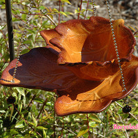 Autumn Leaf Hanging Bird Feeder / Fine Art / Glass Art / Sculpture / Garden Yard Art
