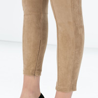 Seamed faux suede leggings