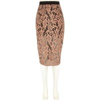 River Island Womens Coral lace overlay pencil skirt