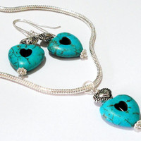 Turquoise Heart  Necklace, Heart  Dangling Silver Necklace With Matching Heart Earrings, Necklace Set, Gift Under 40