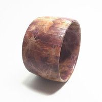 Wide Bangle Bracelet  Autumn Leaves, Fall Neutral Colors, Rustic Jewelry