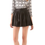 alice + olivia Box Pleat Leather Skirt | SHOPBOP