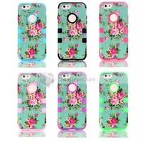 For iPhone 6 Flowers Silicone +PC 4.7 Inch Case Cover - DinoDirect.com