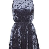 High Neck Cut-Out Velvet Dress - Midnight Blue
