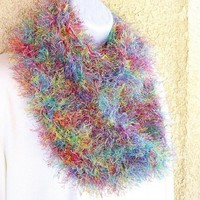 Infinity Moebius Scarf, crocheted in Rainbow Fun Fur Yarn