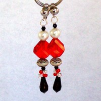 Beaded Dangle Earrings, clip or pierced, in red black and pearl colors