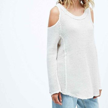 Free People Sunrise Cold Shoulder Jumper in Ivory - Urban Outfitters