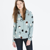 Big spot collared blouse