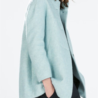 Funnel collar wool coat