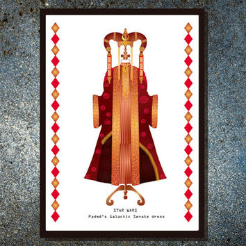 Star Wars inspired, Padme Galactic Senate dress - Fashion and film print - Fashion Illustration