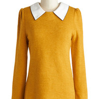 ModCloth Vintage Inspired, Scholastic Mid-length Long Sleeve Wine Appreciation Sweater in Goldenrod