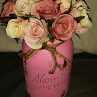 Twitter 500 sale Distressed Mason jar pink great for wedding center pieces /gifts/home decor