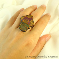 Purple  yellow green gold toadstool ring, Polymer clay faux cloisonne, Poisonousmushroom modern jewelry, Colorful boho fungus