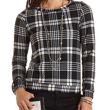 Textured Plaid Sweatshirt by Charlotte Russe - Black Combo