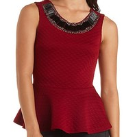 Embellished Textured Peplum Top by Charlotte Russe - Burgundy