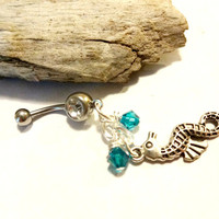 Teal Blue Crystal Seahorse Charm Dangle Belly Button Ring, Ocean Inspired Jewelry, Beach Body Jewelry