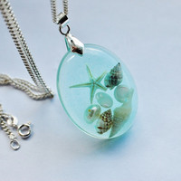 The Mermaid&#x27;s Necklace Oval Nautical Jewelry Resin Starfish Tiny Seashells Aqua Specimen Necklace Fairy Tale Fantasy Unique Handmade