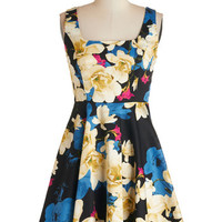 ModCloth Short Sleeveless A-line Very Charming Dress in Rich Floral