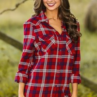 Hayride With You Plaid Blouse-Cranberry