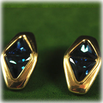 Vintage 1970s Swarovski SAL Blue Rhinestone Austrian Crystal Earrings