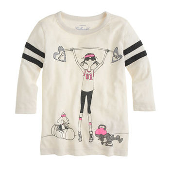 GIRLS' OLIVE WORKOUT FOOTBALL TEE