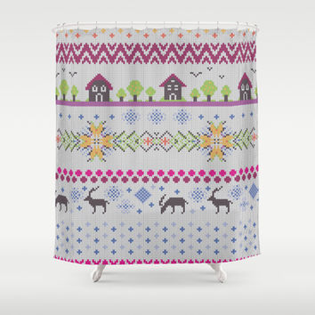 Winter Knitting Shower Curtain by Ornaart