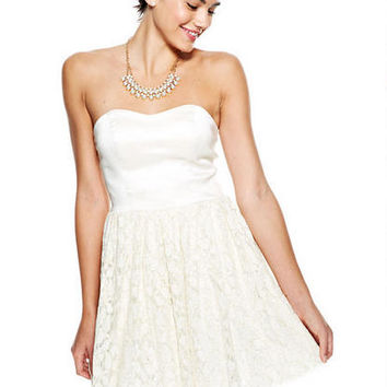 Strapless Foiled Lace Dress