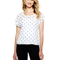 Polka Dot Zip-Back Top