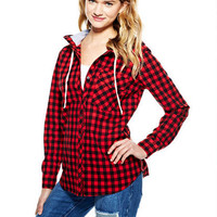 Hooded Buffalo Check Shirt