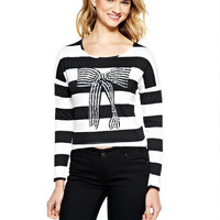 Holiday Sequin Bow Long-Sleeve Top