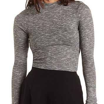 Ribbed Sweater Knit Turtleneck Crop Top - Black Combo