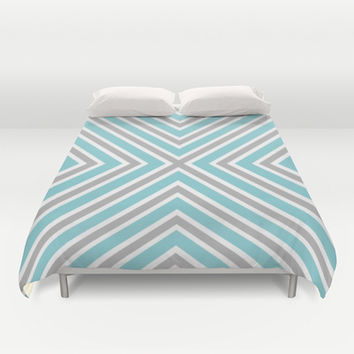Blue Gray And White Stripes Duvet Cover by KCavender Designs