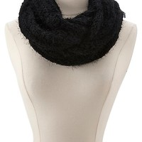 Fuzzy Sweater Knit Infinity Scarf by Charlotte Russe - Black