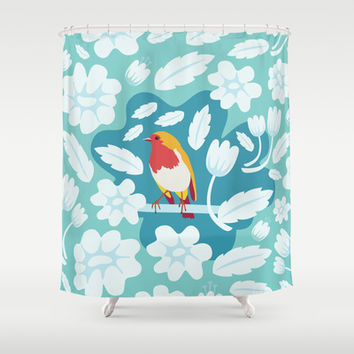 Coloured Robin Shower Curtain by Ornaart