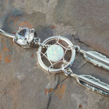 Dream Catcher with White Opal Belly Button Ring