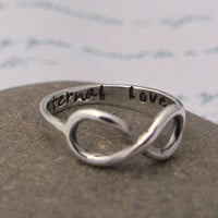 Infinity ring, hand stamped personalized poesy message ring, in sterling silver