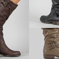 Awesome Buckled Riding Boot In 3 Cute Colors!