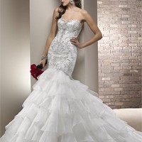 Gorgeous strapless sweetheart beading white organza wedding dresses 2012 BAML0078